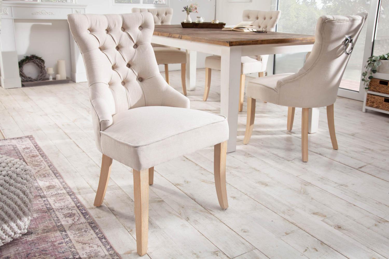 Dizajnová stolička Queen ľan béžová