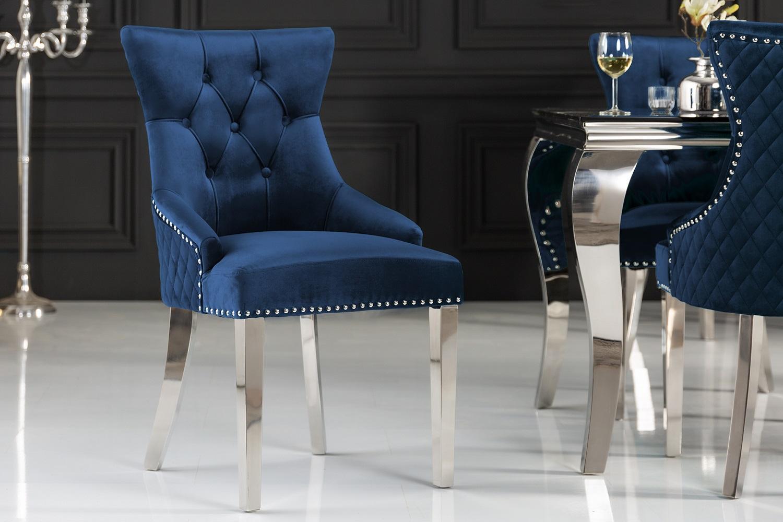 Dizajnová stolička Queen Levia hlava zamat kráľovská modrá