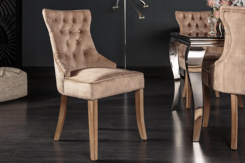 Dizajnová stolička Queen zamat kávová