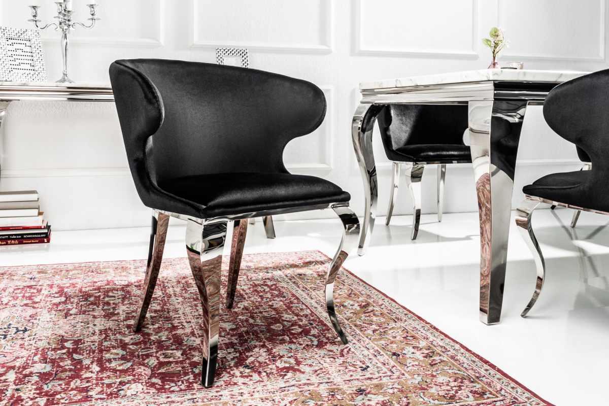 Dizajnová stolička Rococo II čierny zamat