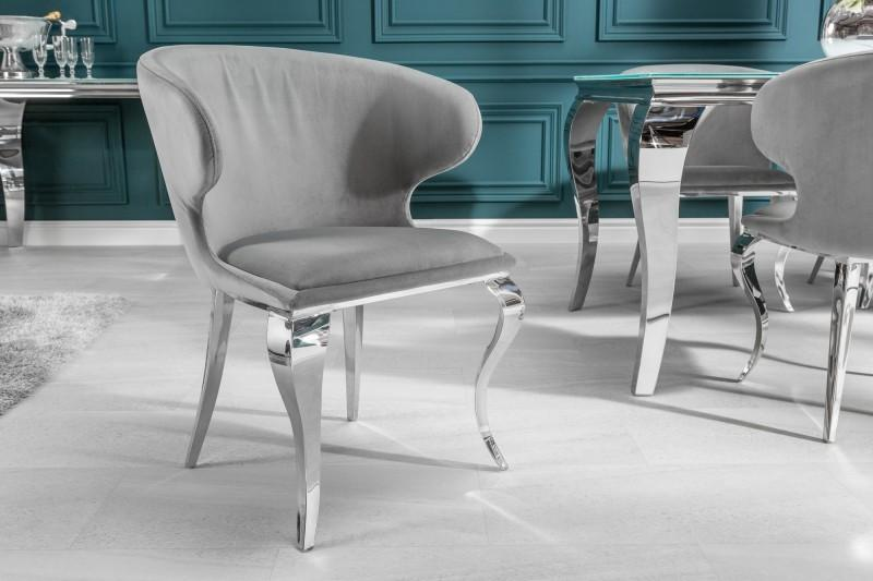 Dizajnová stolička Rococo II sivý zamat