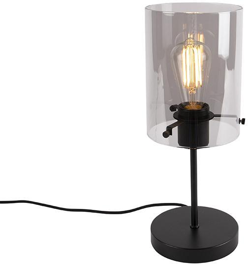 Dizajnová stolná lampa čierna s dymovým sklom na štandarde - Dome