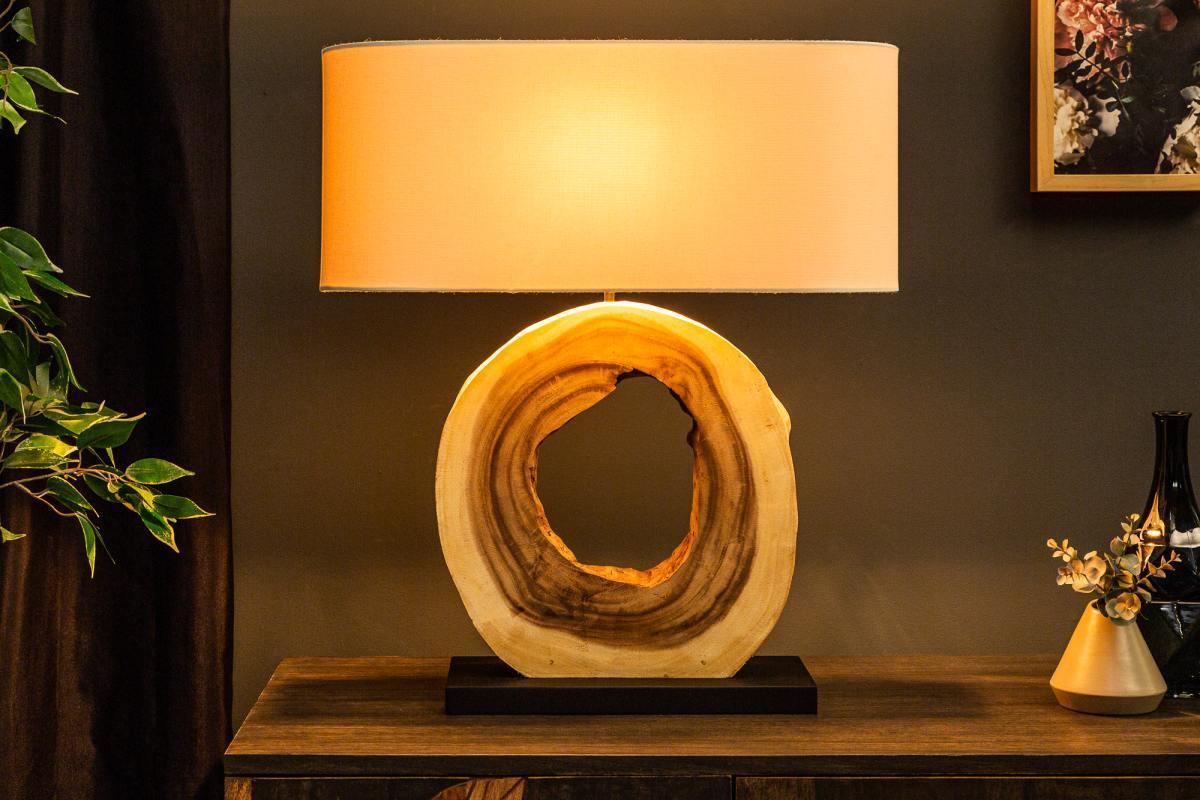 Dizajnová stolná lampa Deandre, 61 cm orech