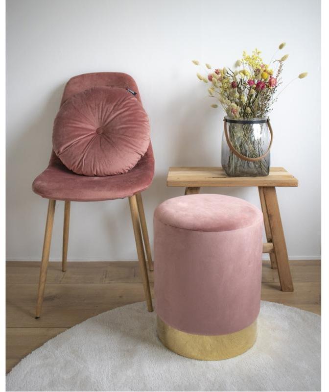 Dizajnová taburetka Eddie, ružový zamat