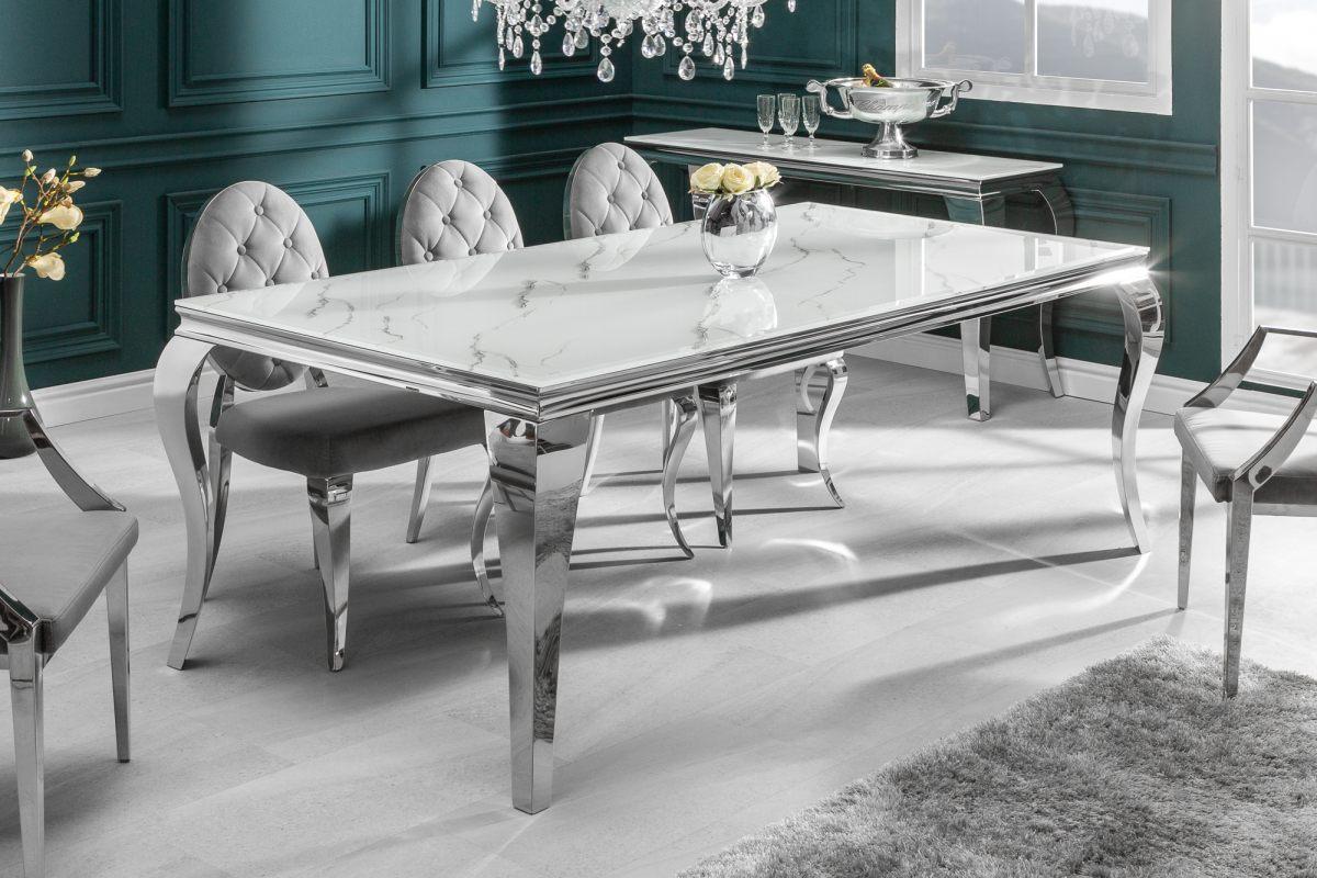 Dizajnový jedálenský stôl Rococo 180 cm strieborný - mramor