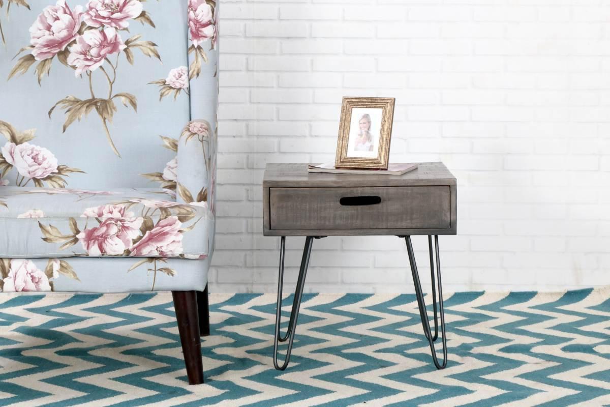 Dizajnový odkladací stolík Felix 50cm sivé mango