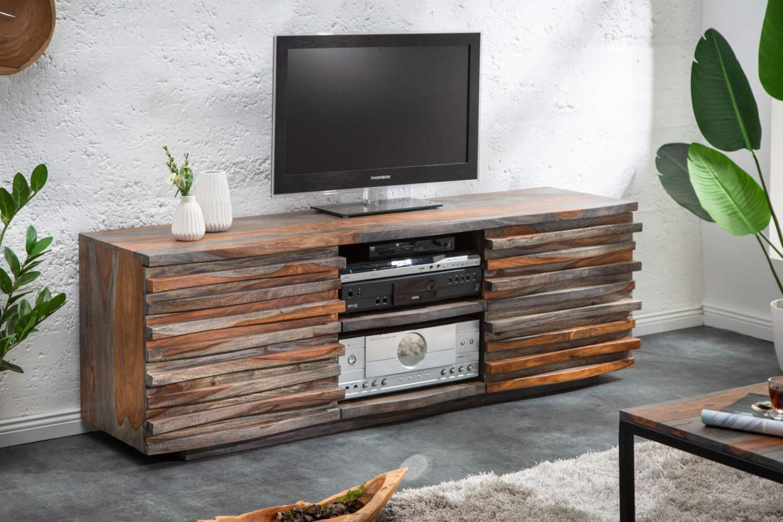 Dizajnový TV stolík Lorenzo 150 cm sheesham dymový