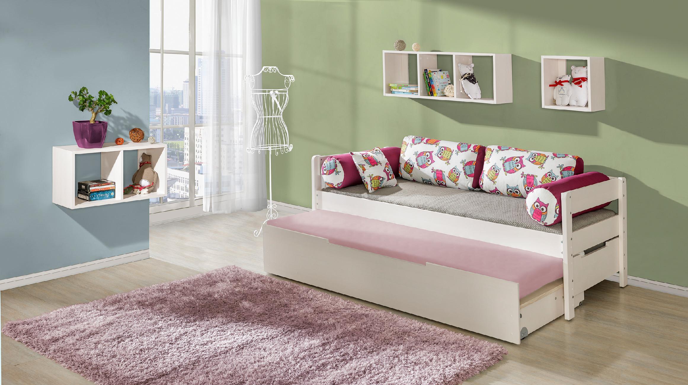 DL Posteľ s prístelkou Bela 90x200 cm Farba: Biela, Motív: Paríž