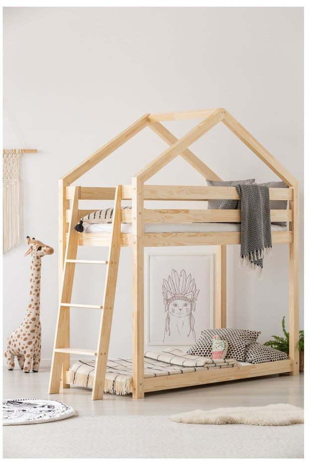 Domčeková poschodová posteľ z borovicového dreva Adeko Mila DMPB, 90 × 200 cm