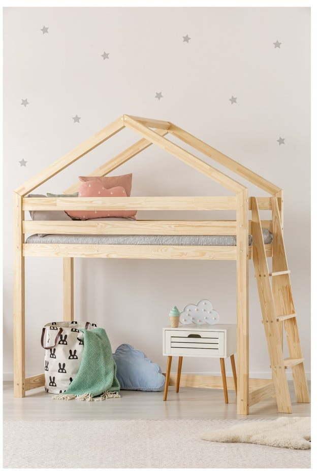 Domčeková poschodová posteľ z borovicového dreva Adeko Mila DMPBA, 80 x 160 cm