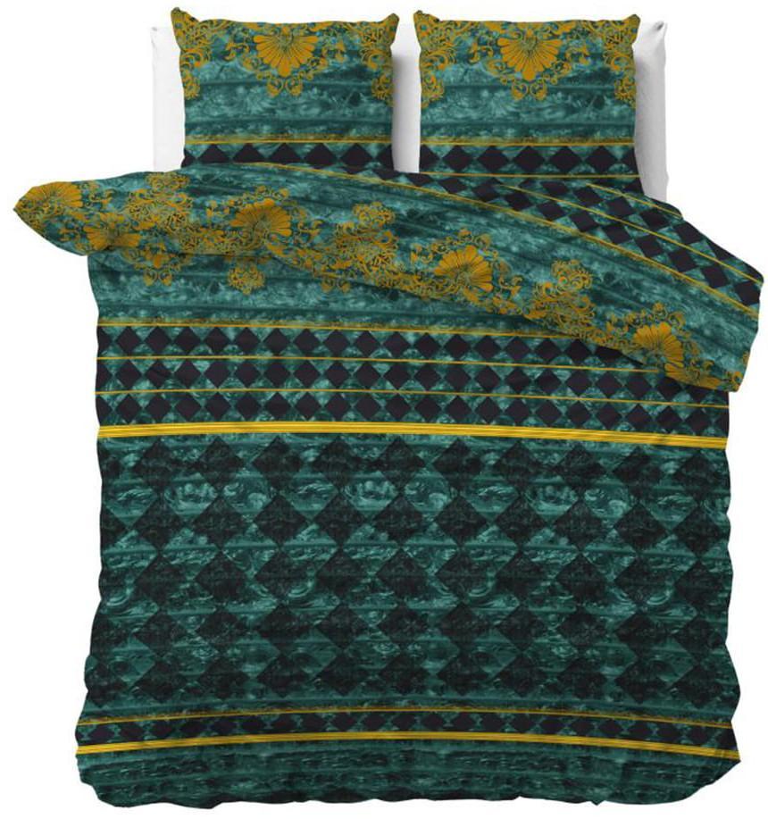 DomTextilu Bavlnené zelené vzorované posteľné obliečky 140 x 200 cm 38096