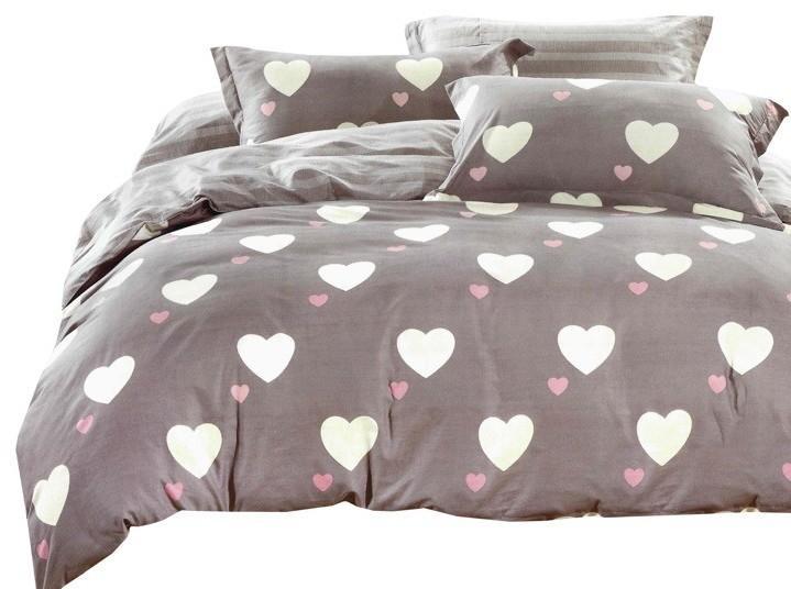 DomTextilu Béžové posteľné obliečky 160x200 s valentínským motívom sŕdc  Béžová 10228-28600