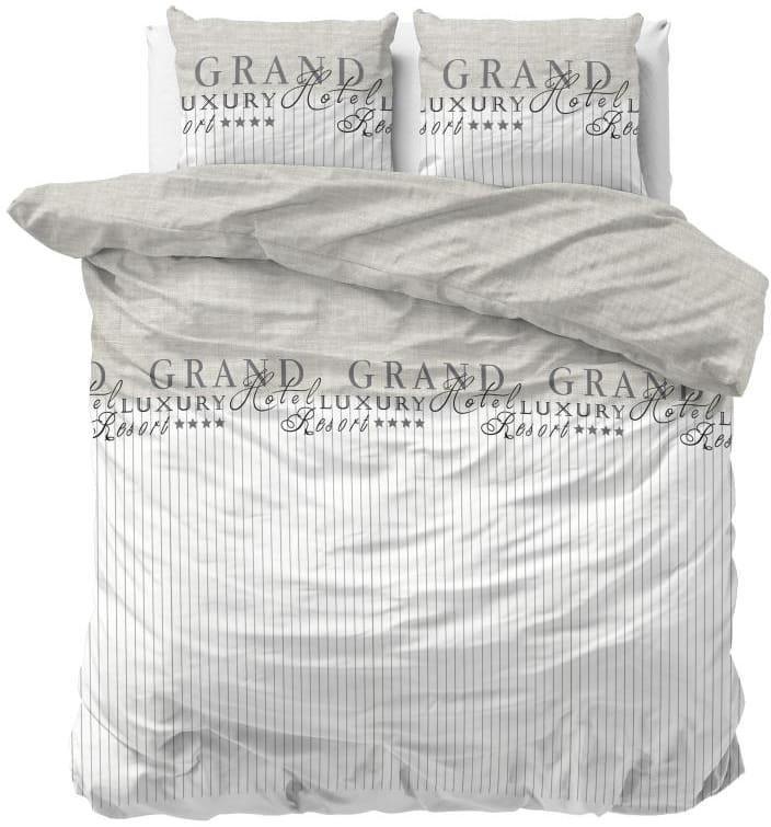 DomTextilu Béžovo biele posteľné obliečky s nápisom z kolekcie LUXURY RESORT 160 x 200 cm 38092