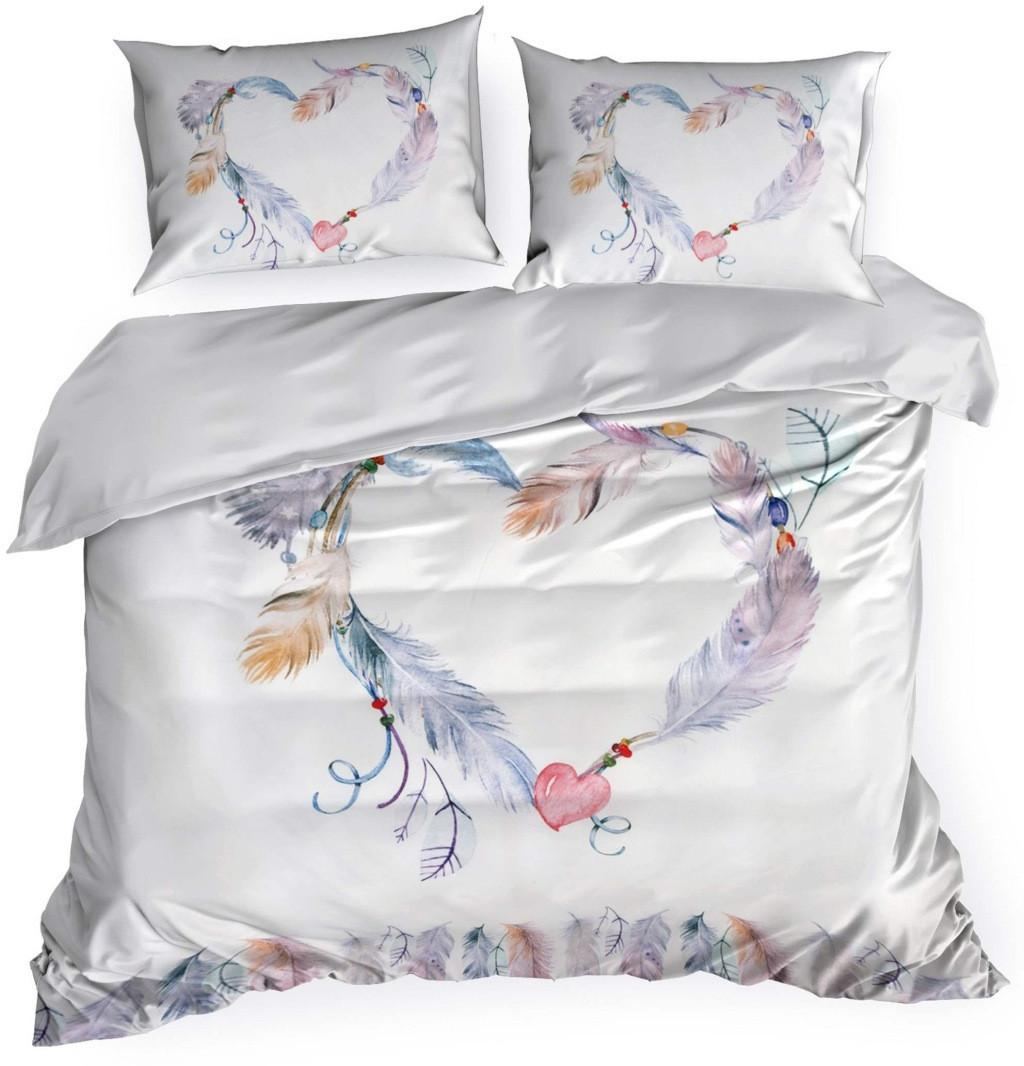 DomTextilu Biele romantické posteľné obliečky s motívom srdca 3 časti: 1ks 160 cmx200 + 2ks 70 cmx80 Biela 70x80 cm 25027-148857