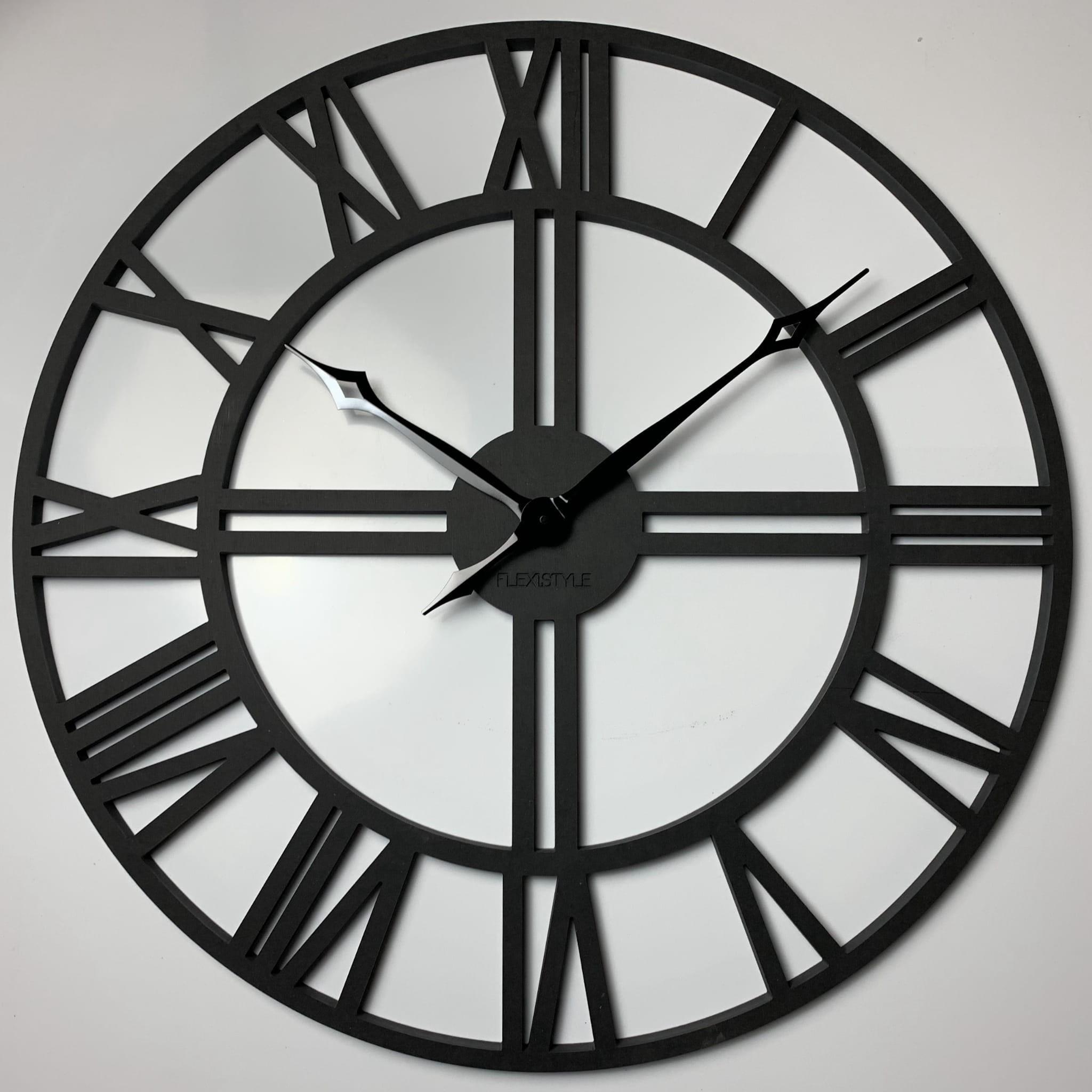 DomTextilu Čierne hodiny na stenu zdreva LOFT GRANDE 80cm 16605