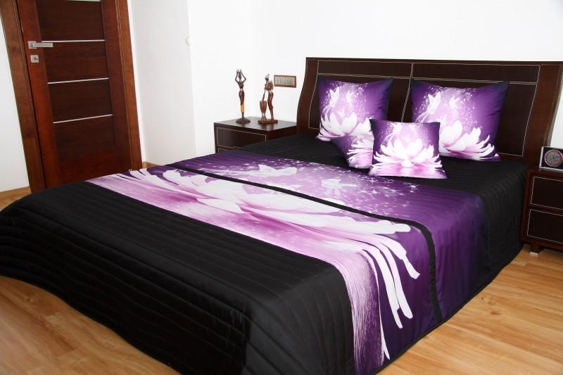 DomTextilu Čierno fialové prehozy s motívom lekna Šírka: 220 cm | Dĺžka: 240 cm 3563-131060