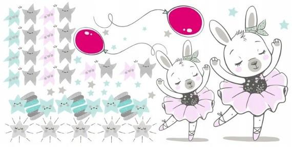 DomTextilu Detská nálepka na stenu pre dievčatko zajačik baletka 100 x 200 cm 46612-217505