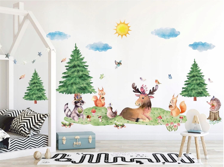 DomTextilu Krásna nálepka na stenu XXL lesné zvieratká 42046 Biela