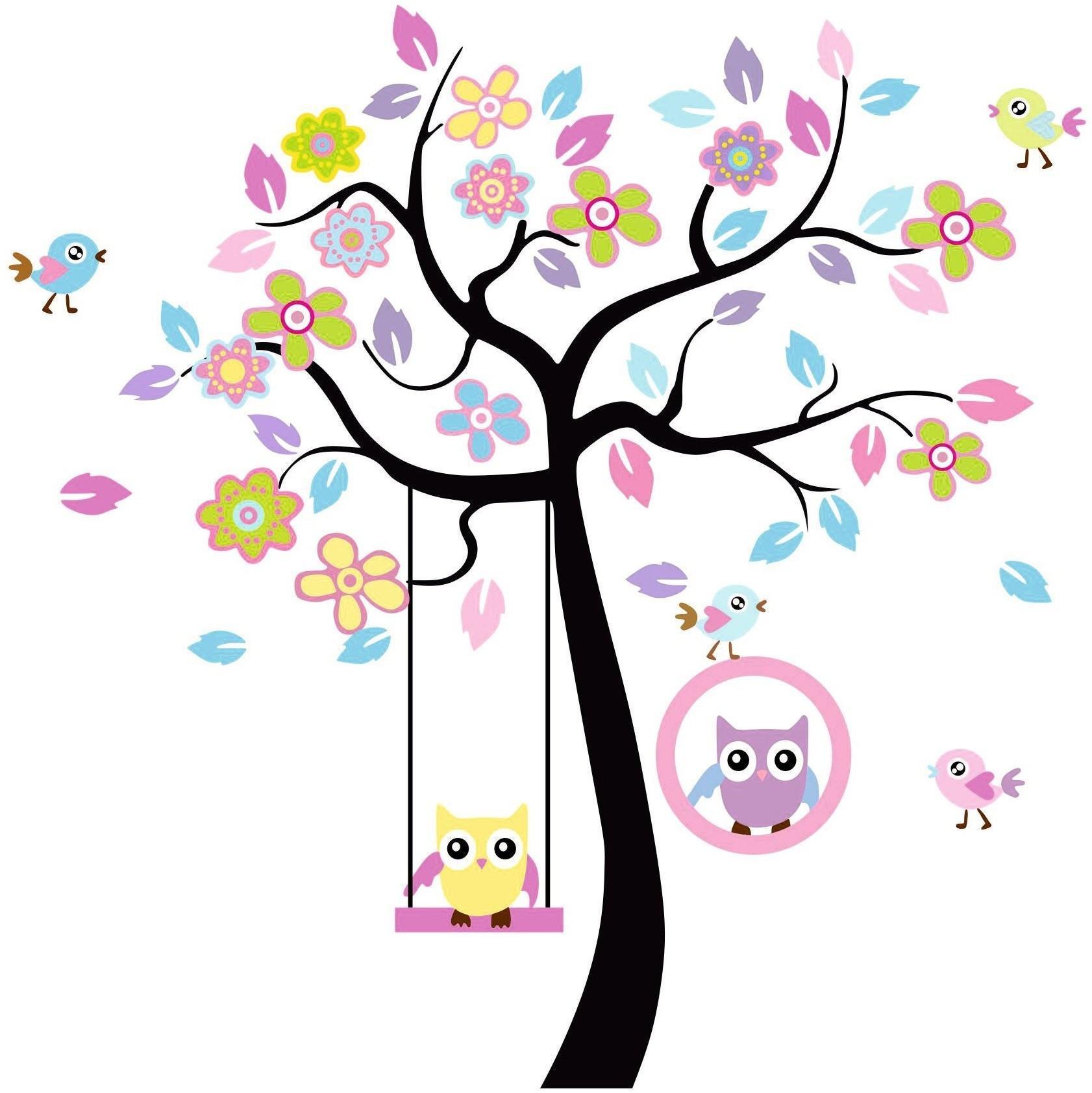 DomTextilu Nálepky na stenu sovičky na strome 60x65cm 41804 Ružová