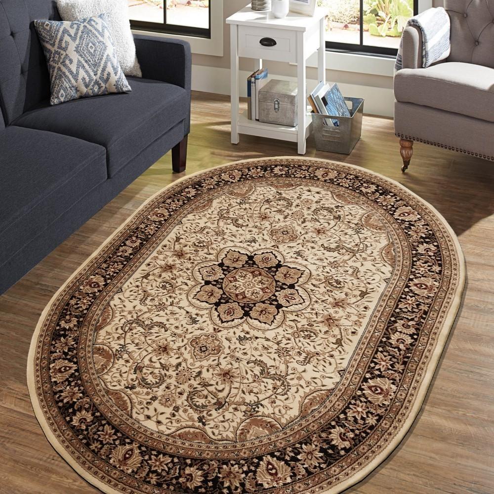 DomTextilu Exkluzívny oválny koberec v krémovej farbe 38622-181682