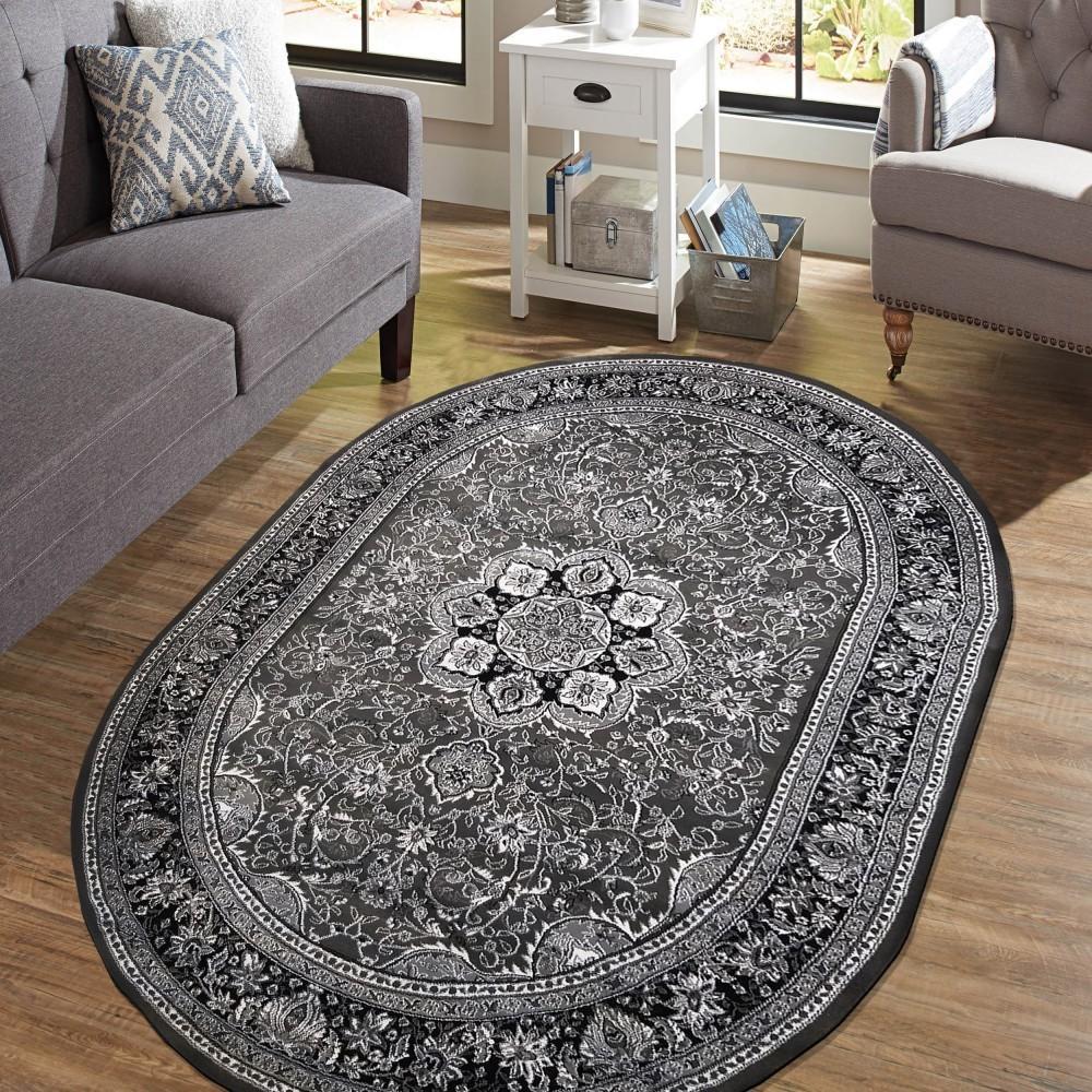 DomTextilu Exkluzívny oválny koberec v nadčasovej šedej farbe 38625-181685