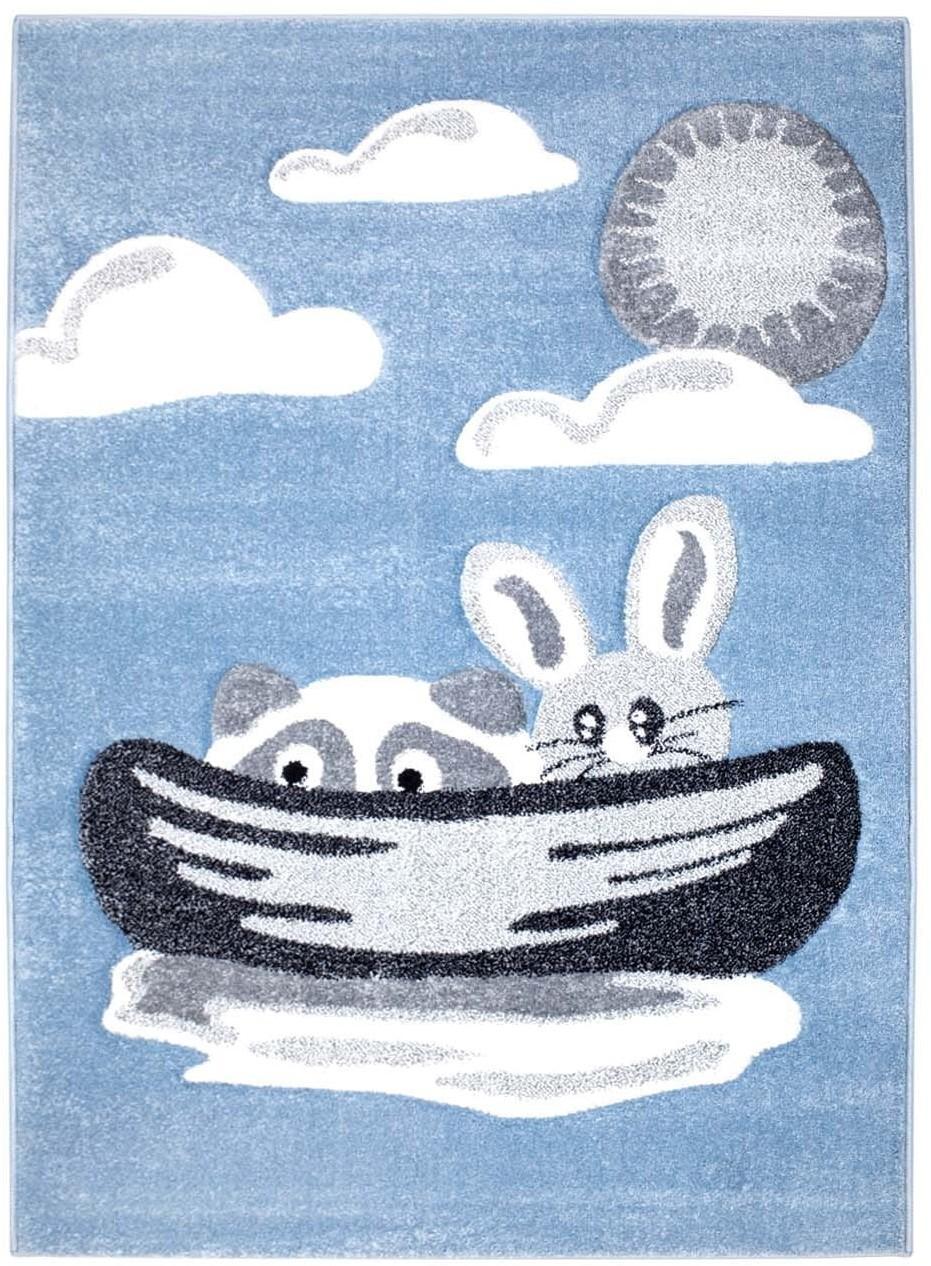 DomTextilu Koberec do chlapčenskej izby bojazlivé zvieratká 41999-197332  160 x 230 cm Modrá