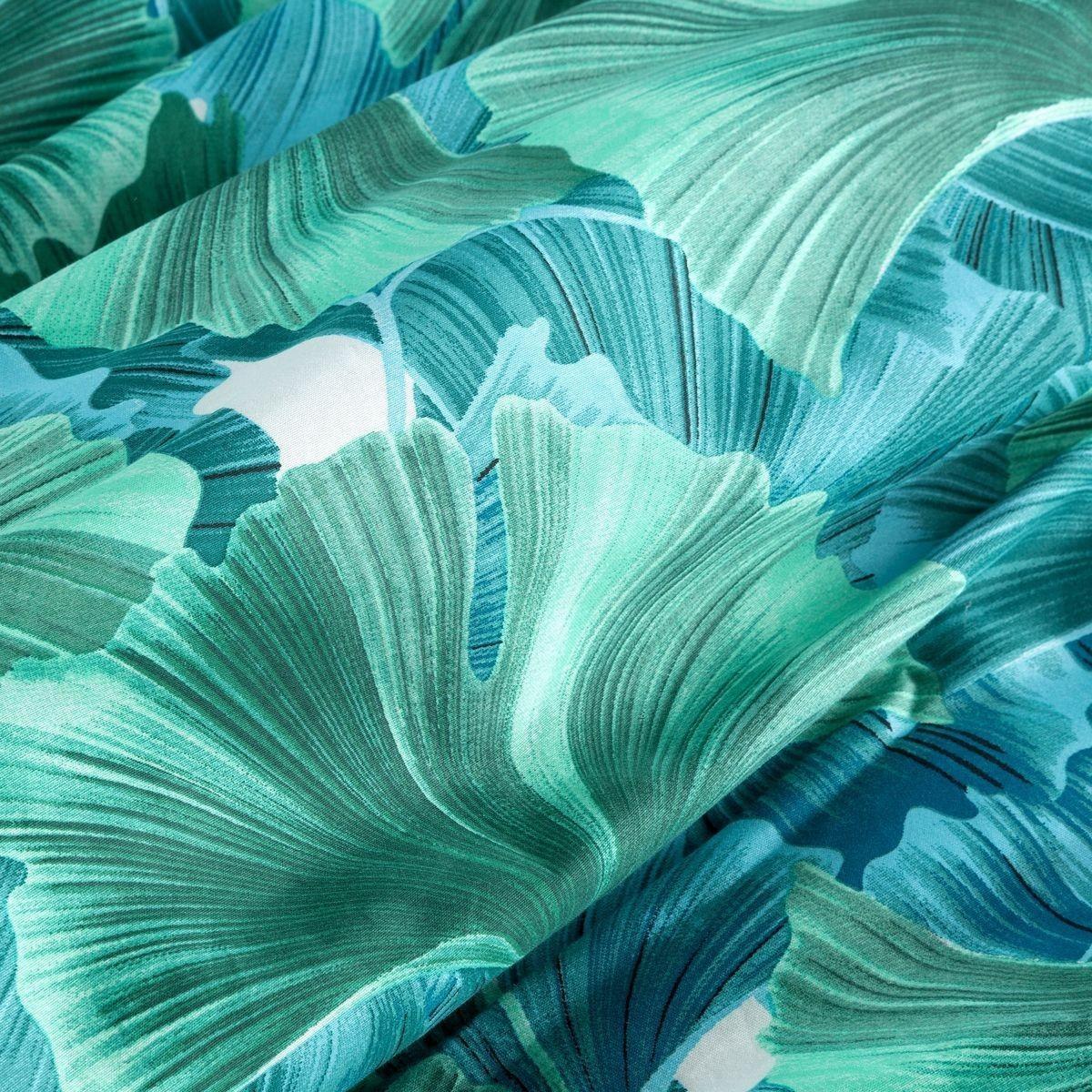 DomTextilu Krásne tyrkysovo zeléné posteľné obliečky z bavlny s motívom listov ginkgo 3 časti: 1ks 160 cmx200 + 2ks 70x80 Tyrkysová 44761-208844