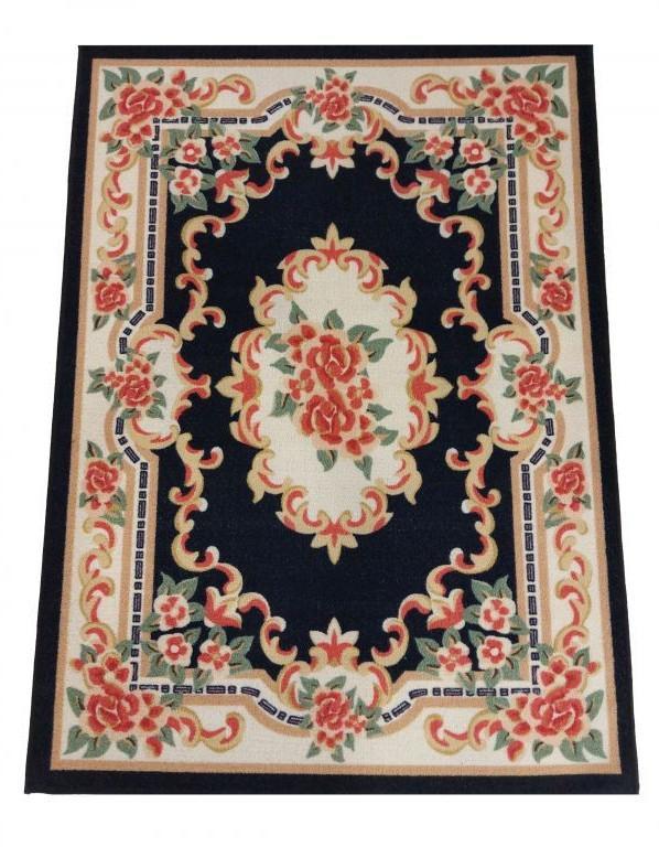 DomTextilu Krásny tmavomodrý koberec s kvetinovým vzorom 43483-204932