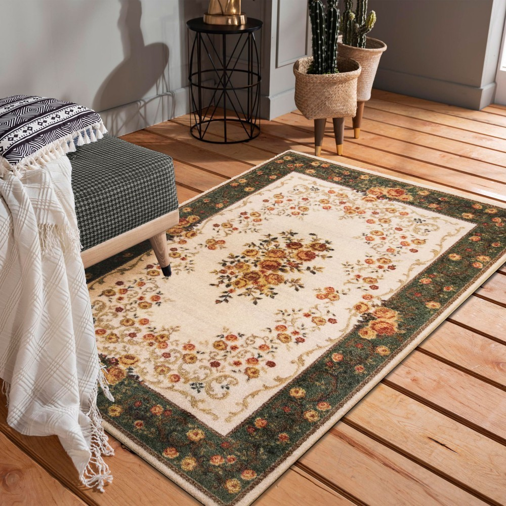 DomTextilu Krásny zeleno krémovy koberec do obývačky 40991-187496