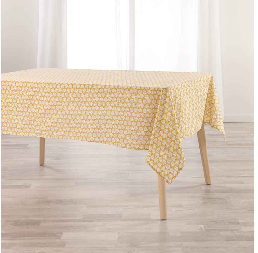 DomTextilu Krásny žltý jarný obrus s motívom listov 140 x 240 cm 39485 Žltá