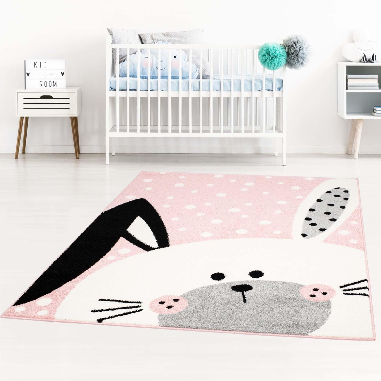 DomTextilu Kúzelný detský ružový koberec pre dievčatko zajačik 42026-197400