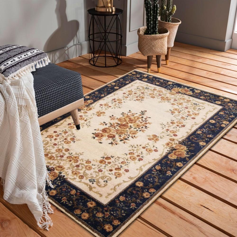 DomTextilu Kvalitný krémovo modrý koberec s motívom kvetov 40992-187501