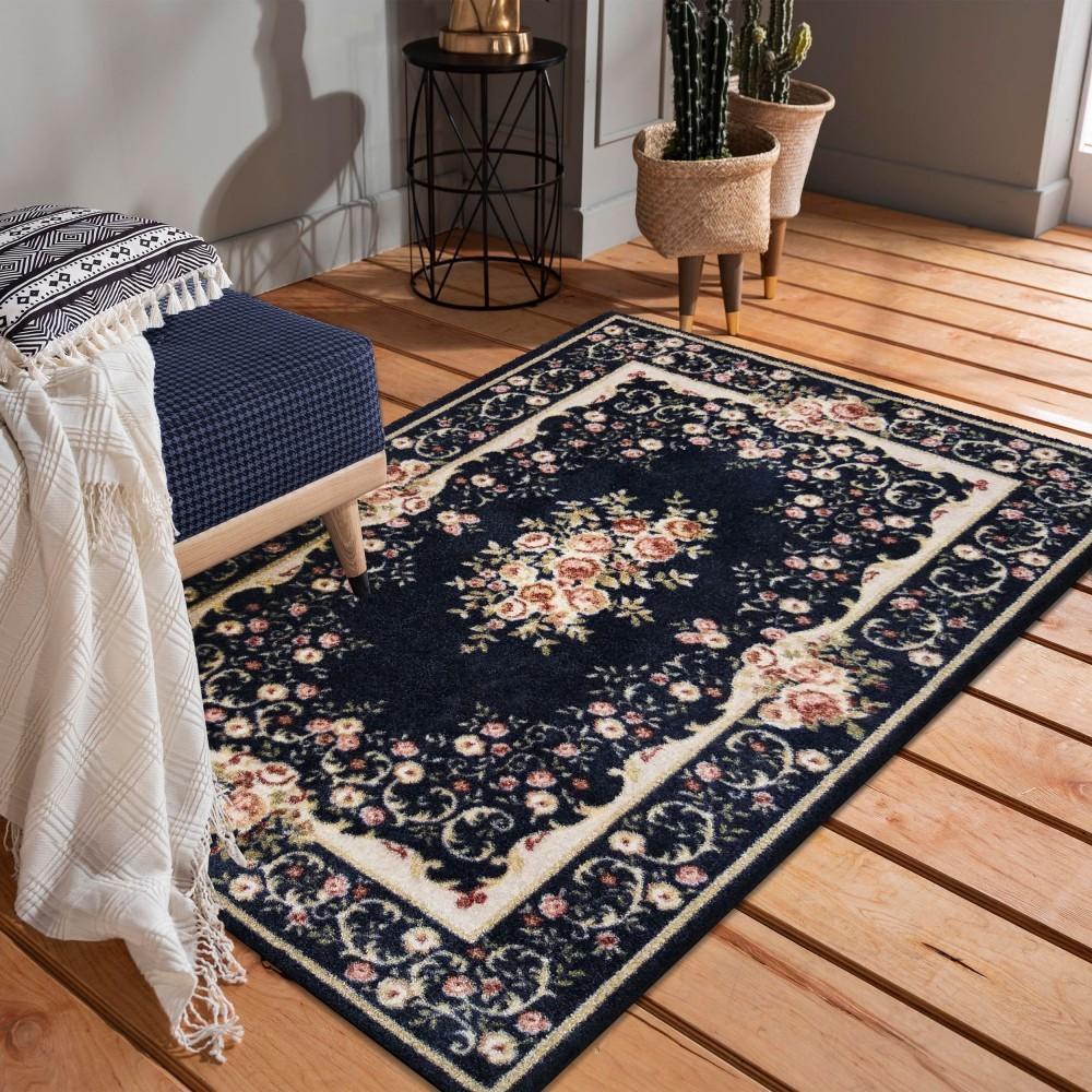 DomTextilu Kvalitný tmavo modrý vintage koberec 40985-187478