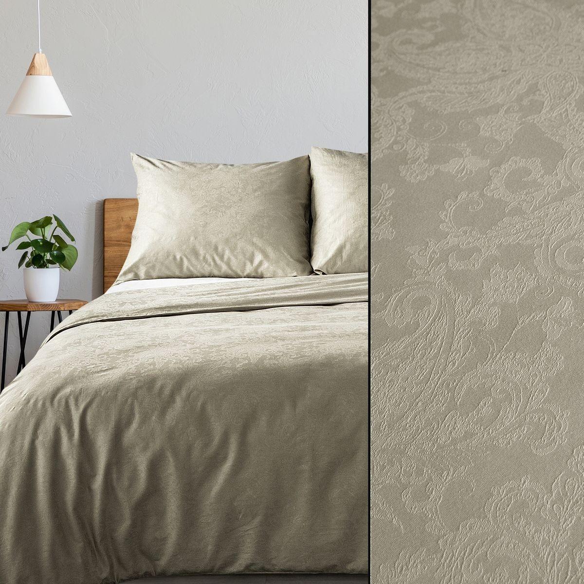 DomTextilu Luxusné béžové damaškové posteľné obliečky s kvetinovou štruktúrou 3 časti: 1ks 200x220 + 2ks 70x80 Béžová 3 časti: 1ks 200x220 + 2ks 70x80 44500-208127