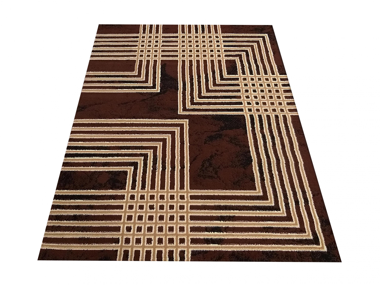 DomTextilu Moderný hnedý koberec s geometrickým motívom štvorcov 40347-198567