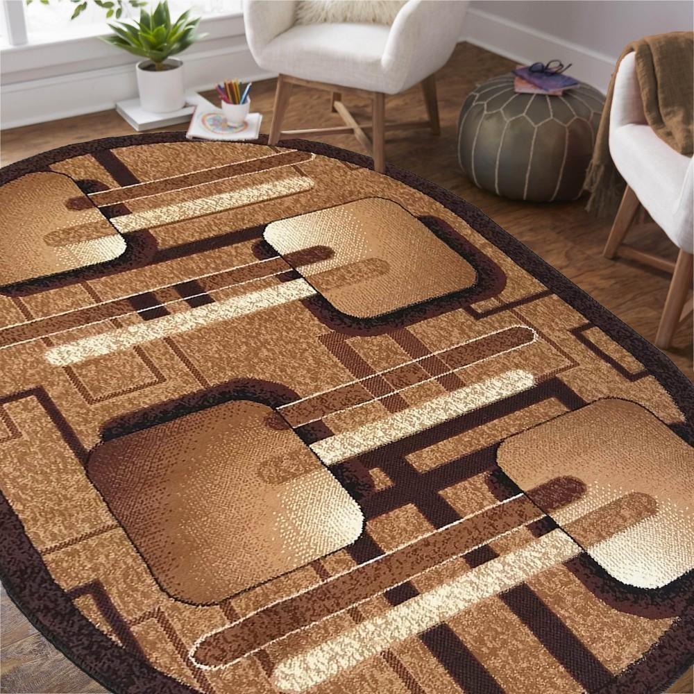 DomTextilu Oválny koberec v hnedej farbe s geometrickými vzormi 38568-181509