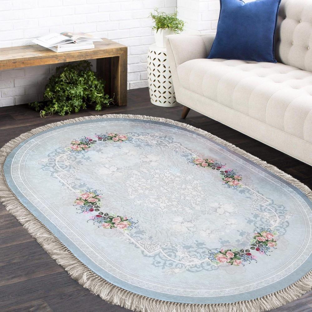 DomTextilu Oválny protišmykový koberec v modrej farbe 26674-154815
