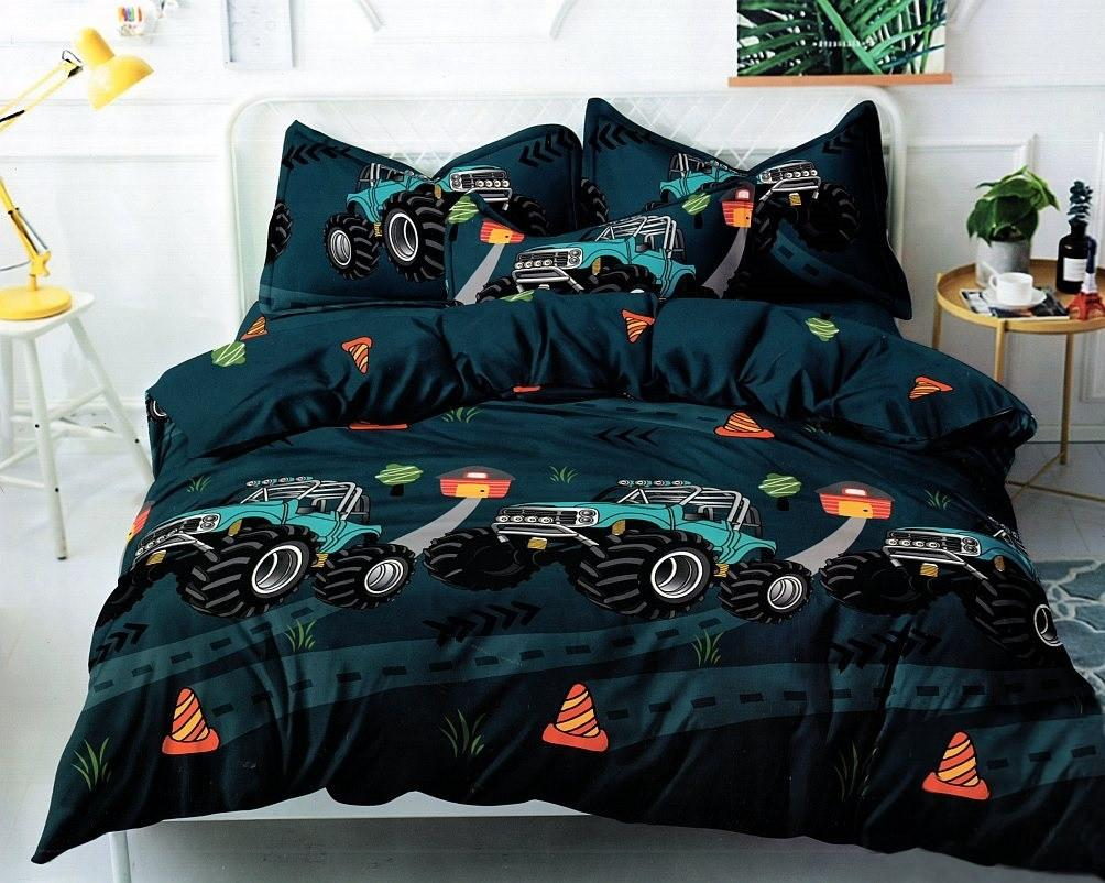 DomTextilu Petrolejovo zelené detské posteľné obliečky s motívom traktora 3 časti: 1ks 160 cmx200 + 2ks 70 cmx80 Zelená 44595-208412