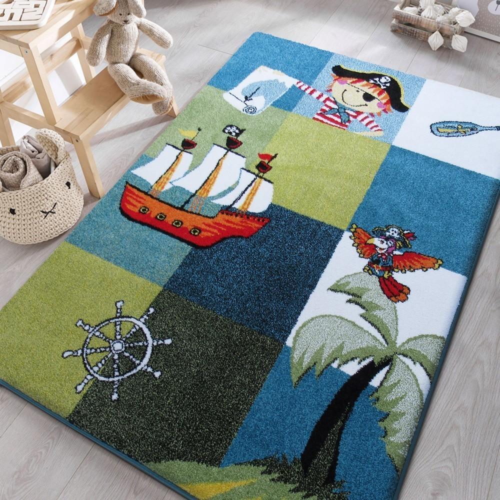 DomTextilu Pirátsky koberec do chlapčenskej detskej izby 19673-135466  120 x 170 cm Zelená