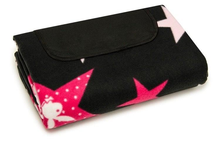 DomTextilu Plážová deka čiernej farby s ružovými hviezdičkami  150 x 200 cm 10332-41738 Čierna Moderný