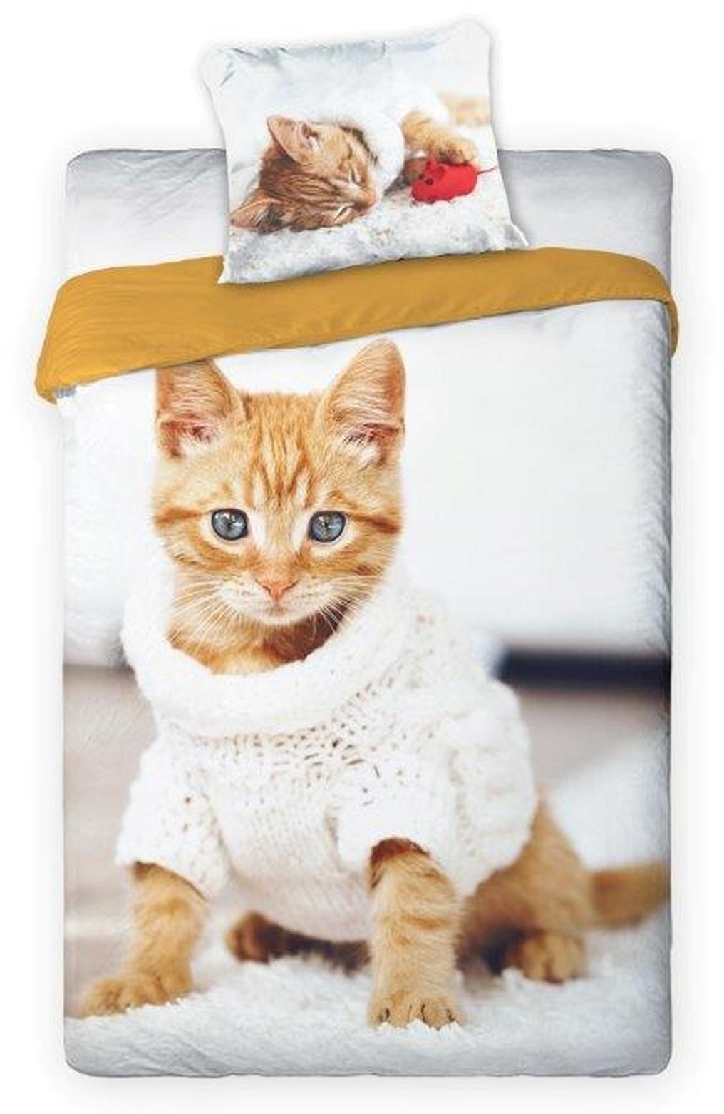 DomTextilu Posteľné obliečky s rozkošným mačiatkom 2 časti: 1ks 160 cmx200 + 1ks 70 cmx80 Béžová 140x200 cm 22583-140131