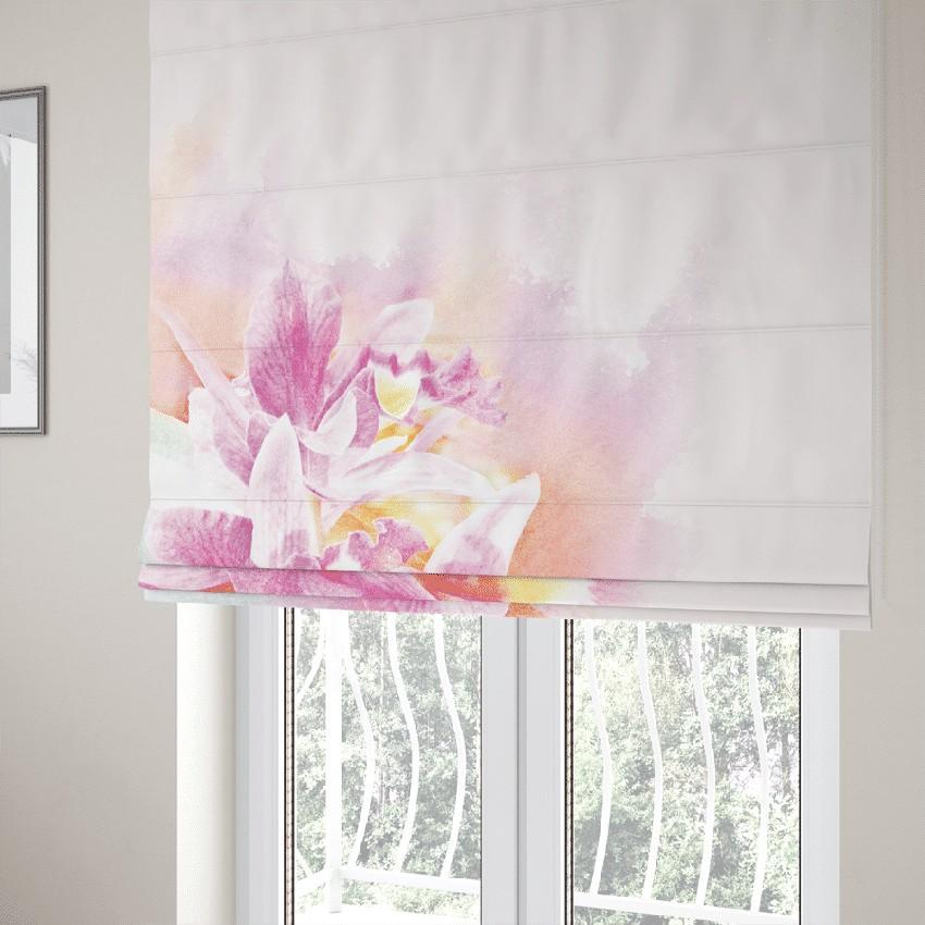 DomTextilu Romantická okenná roleta šitá na mieru v ružovej farbe s kvetom 14783