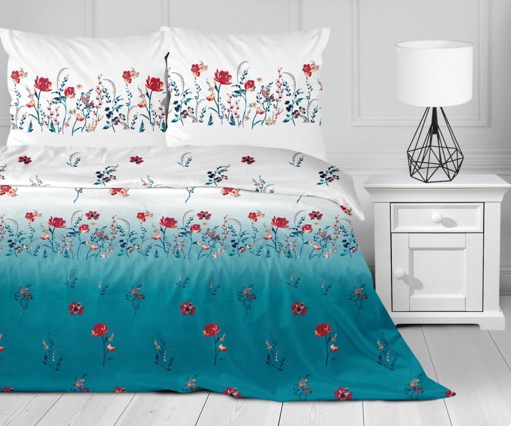 DomTextilu Romantické bavlnené modro biele posteľné obliečky s motívom kvetov 3 časti: 1ks 160 cmx200 + 2ks 70 cmx80 Modrá 70 x 80 cm 33814-164882