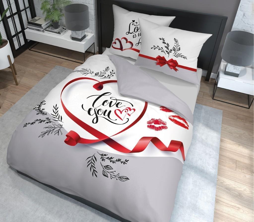 DomTextilu Romantické bielo sivé posteľné obliečky so srdcom a nápisom LOVE YOU 3 časti: 1ks 200x220 + 2ks 70 cmx80 Sivá 70 x 80 cm 39778-183633