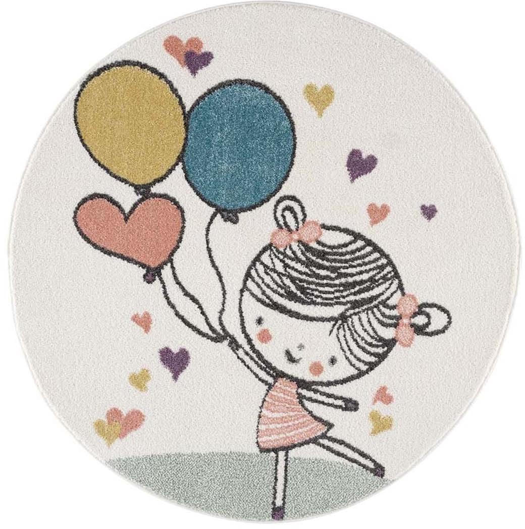 DomTextilu Roztomilý detský okrúhly koberec dievčatko s balónmi 41636-196775  120 cm krémová