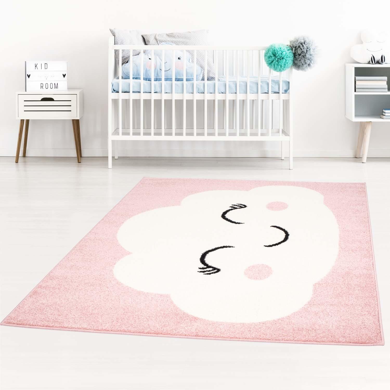 DomTextilu Roztomilý detský ružový koberec pre dievčatko spiaci mráčik 42032-197425