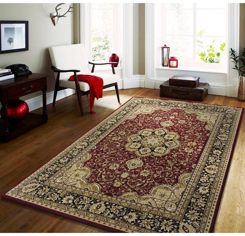 DomTextilu Štýlový koberec v červenej farbe s krémovými vzormi 17611-157614