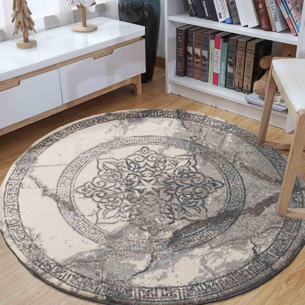 DomTextilu Štýlový sivý okrúhly koberec so vzorom mandaly 38629-198265