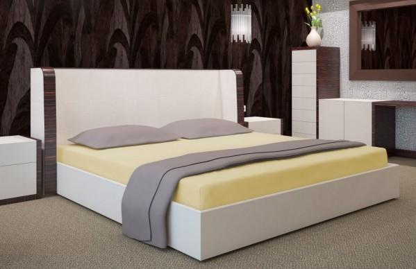 DomTextilu Svetložlté napínacie plachty na postele 7519-20424 Žltá Šírka: 180 cm   Dĺžka: 200 cm Žltá