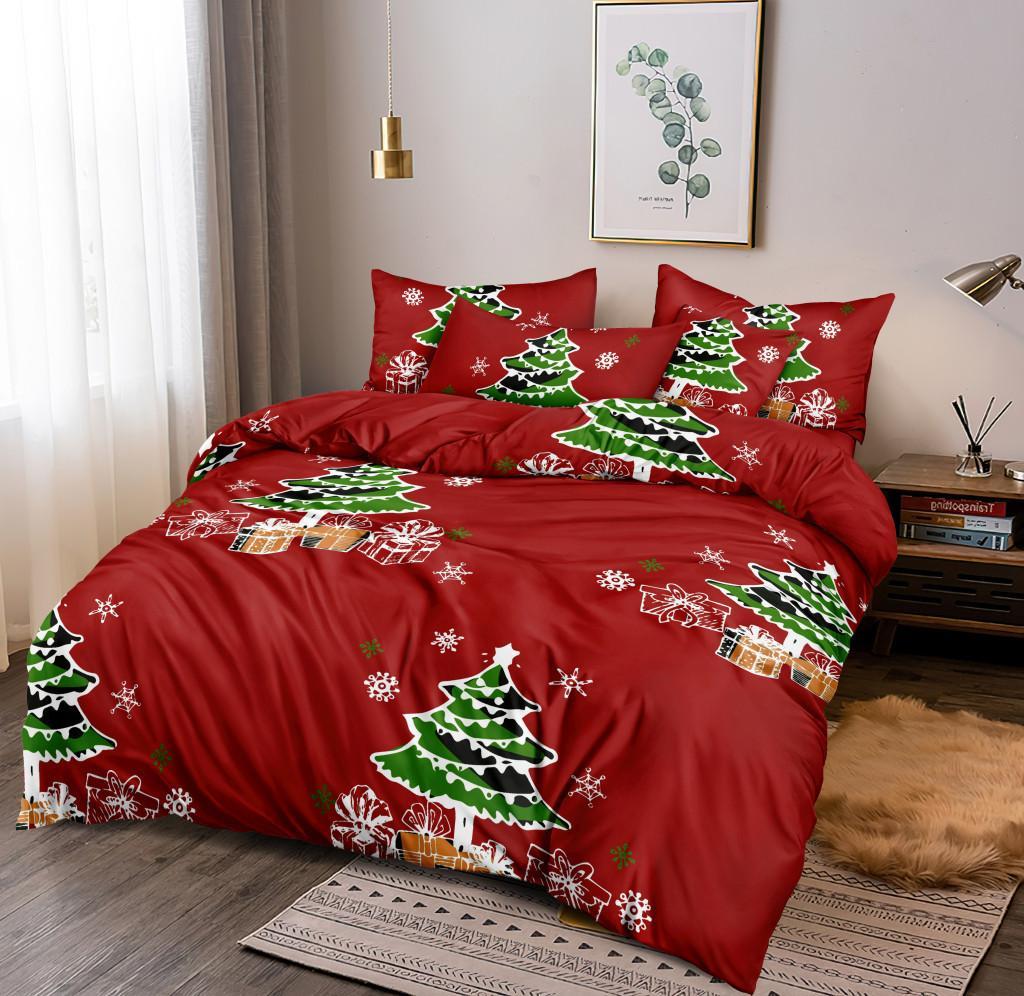 DomTextilu Sviatočné červené vianočné posteľné obliečky s vianočným stromčekom 4 časti: 1ks 160 cmx200 + 2ks 70 cmx80 + plachta Červená 180x220 cm 46889-218403